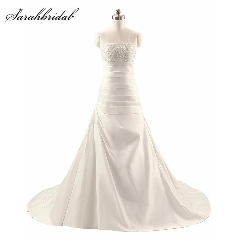 Sparkle Sweety En linje Bröllopsklänningar med Stropløs Snörning Snyggtåg Tulle Kristall Naturlig Vestidos novia Klänning TJ014