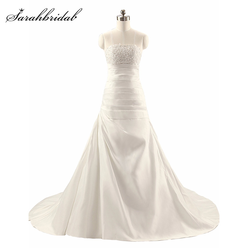 Sparkle Sweety A line Wedding Dresses dengan Strapless Lace-up Sapu Kereta Tulle Kristal Pernikahan & de novia Gaun TJ014 Alami