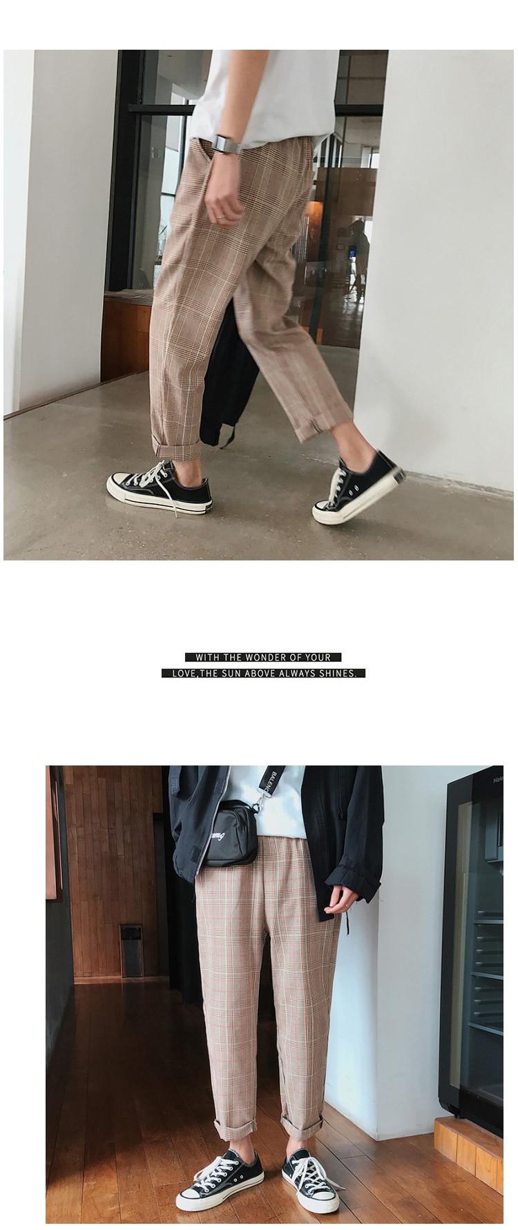 HTB1e79GbznuK1RkSmFPq6AuzFXab LAPPSTER Streetwear Yellow Plaid Pants Men Joggers 2019 Man Casual Straight Harem Pants Men Korean Hip Hop Track Pants Plus Size