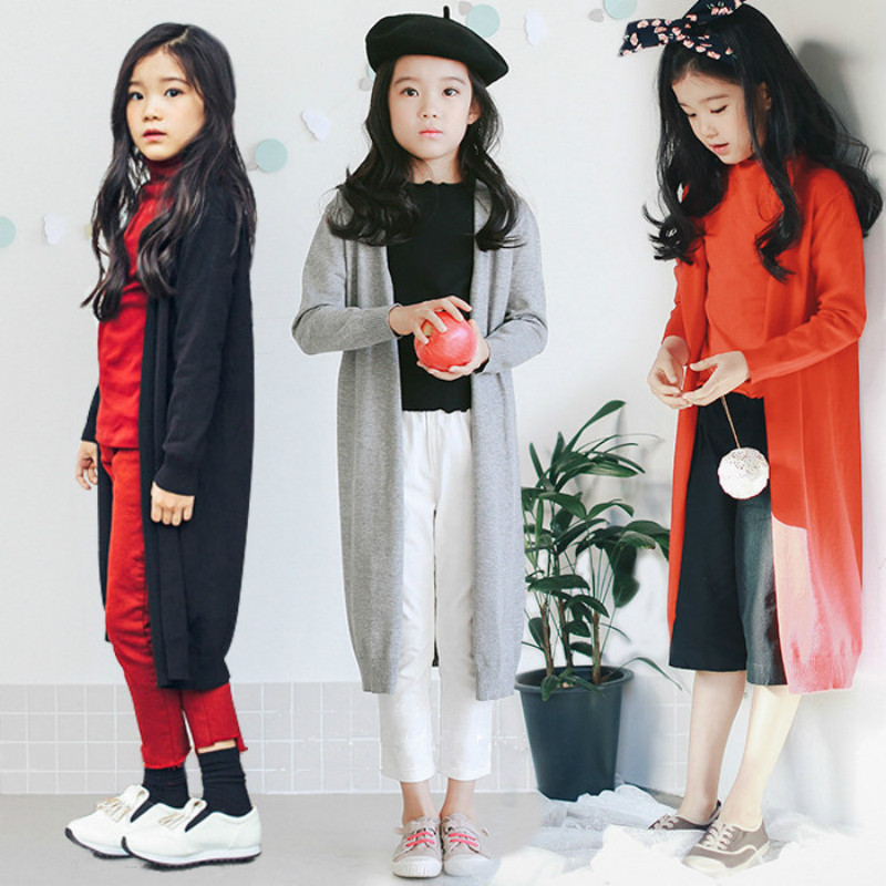 Children's sweater 2018 autumn new fashion girls sweater jacket long sweater cardigan big children wild sweater coat snowflake long sweater