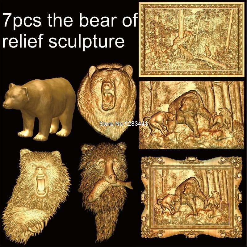 7pcs the bear of relief sculpture 3d model STL relief for cnc STL format 3d Relief Model STL Router 3 axis Engraver ArtCam 3d model relief for cnc in stl file format animals and birds 2