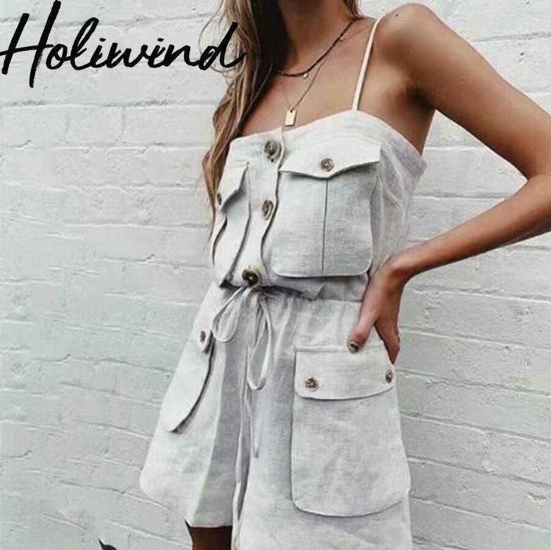 2019 été femmes coton linge combishorts avec poches européen Streetwear linge lâche salopette body mujer