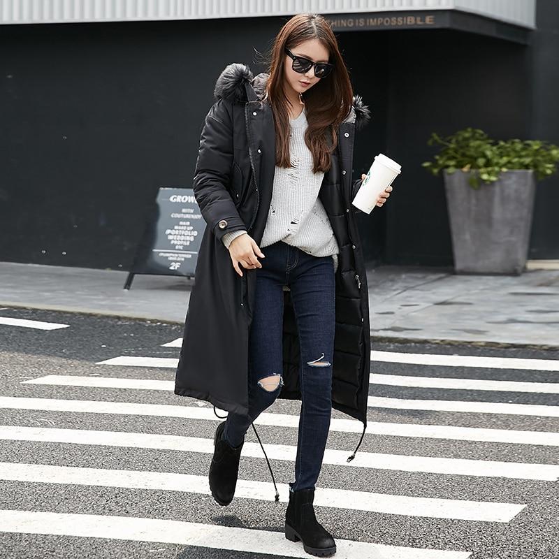 Fashion Winter Jacket Women Winter Coat Large Fur Collar Thickening Loose Down Cotton Padded Jacket Female
