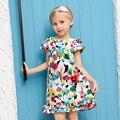 American girl Impresso vestido da menina Princesa Vestido Da Menina de flor Do Bebê Crianças Roupas Crianças Roupas Festa Para As Meninas navio Livre
