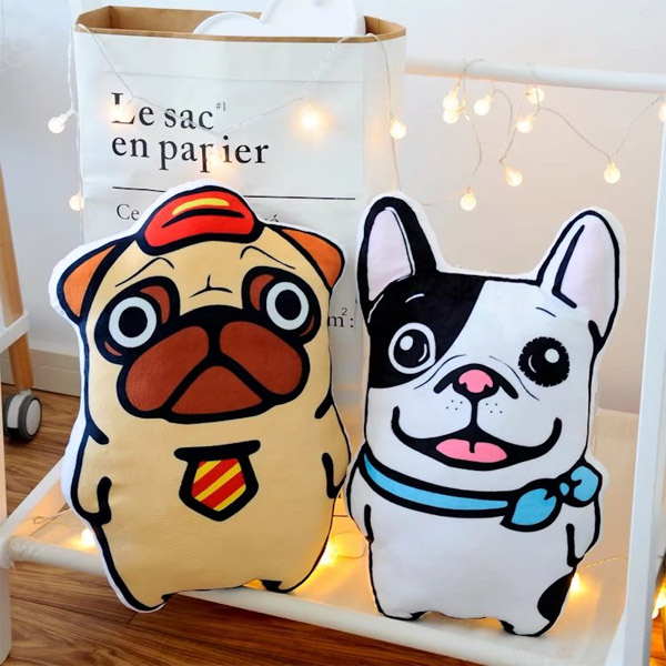 Candice guo! cute plush toy shar pei pug bulldog dog sofa prrinting cushion soft holding pillow creative birthday gift 1pc