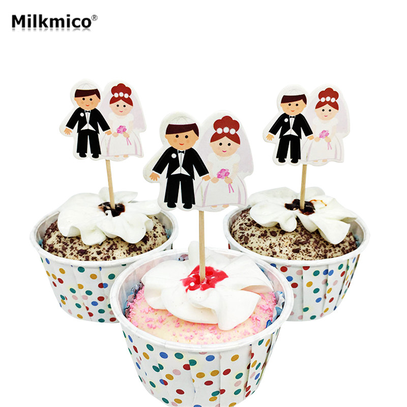 Home Cake Decorating: 20pcs Cupcake Topper Picks Bride And Groom Wedding Party