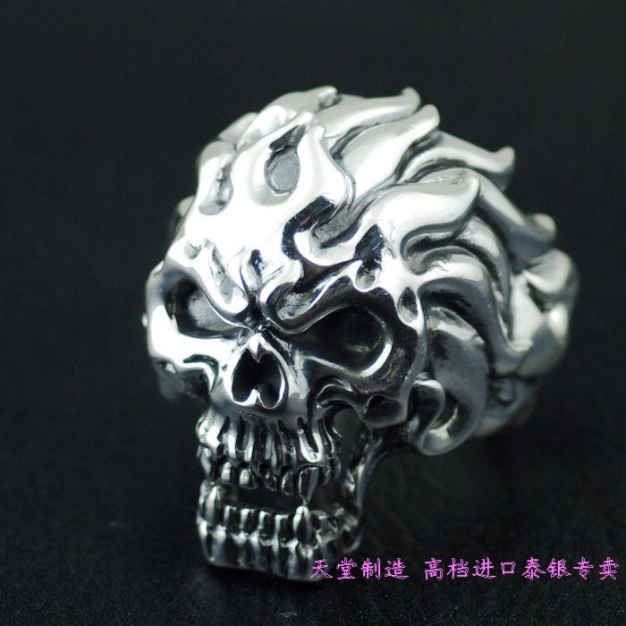 925 pure silver skull ring