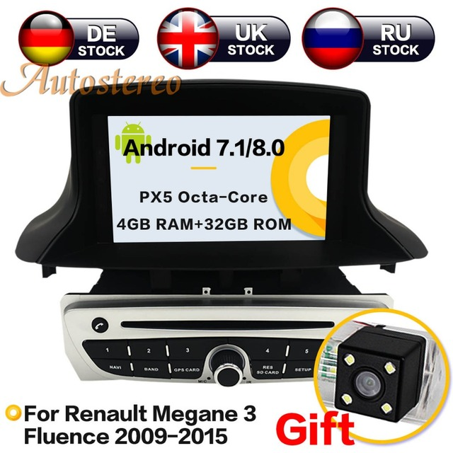 Android8 4G RAM coche DVD reproductor de CD para Renault Megane 3 Fluence 2009-2015 cabeza estéreo unidad navegación GPS grabadora de radio