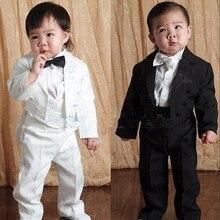 3 Styles Baby Boy Wedding Suit 5 Pcs:Coat+Vest+Shirt+Bow Tie+Pants Newborn Baby