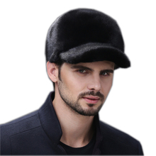 Fur hats for winter men whole real mink fur baseball hat with 2019 luxury fashion man fur good quality men's winter fur hats