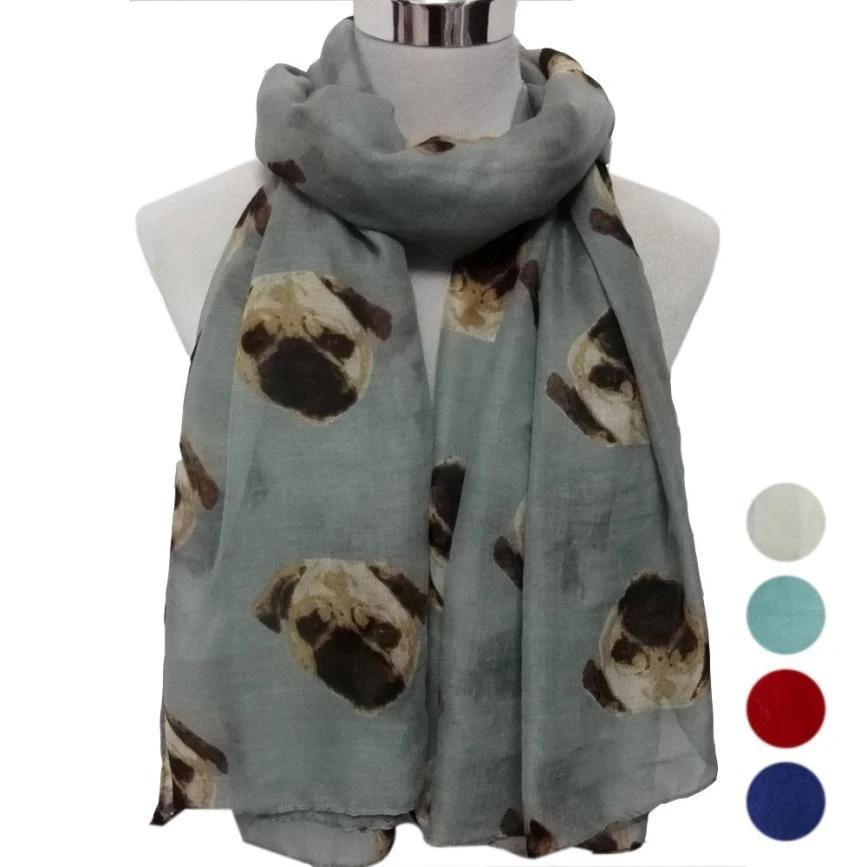 Lady Womens Long Cute Pug Dog Print Scarf Light Soft Scarves Wraps Shawl