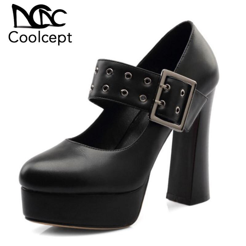Coolcept Women s Pumps Thick Platform Square Toe Buckle Strap Fashion Shoe Woman Party Dancing Shoe