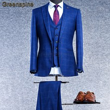 Mens traje chaqueta Formal de negocios los hombres de los pantalones tres  piezas partido botón único 31f7e84a67d0