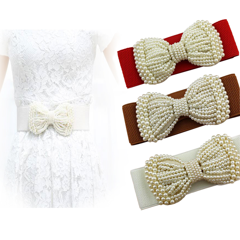 20PCS/LOT SINGYOU Women Belts For Dress Fashion Bowknot Stretch Elastic Wide Belt Simulated Pearl Cummerbund Female Waist Belt