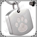MJD8003 urna de cenizas de acero Inoxidable colgante de impresión de la pata del perro etiquetas joyería de cremación de mascotas