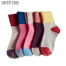 5 Pairs/lot Retro Thickening Women Socks Autumn Winter Rabbit Wool Patchwork SocksTube Happy Sock Students Hosiery