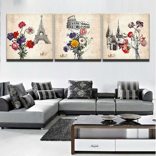 Painting Canvas Wall Art Picture Home Decor Living Room Canvas Print 3  Piece Retro Architecture Colourful