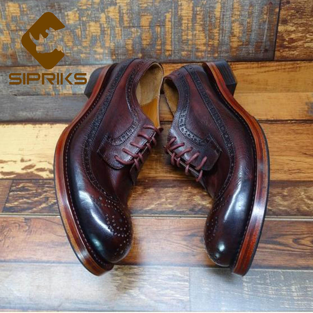 Sipriks Luxury Burgundy Italy Calf Leather Goodyear Welted Shoes Mens Classic Vintage Brogue Shoe Wingtip Dress