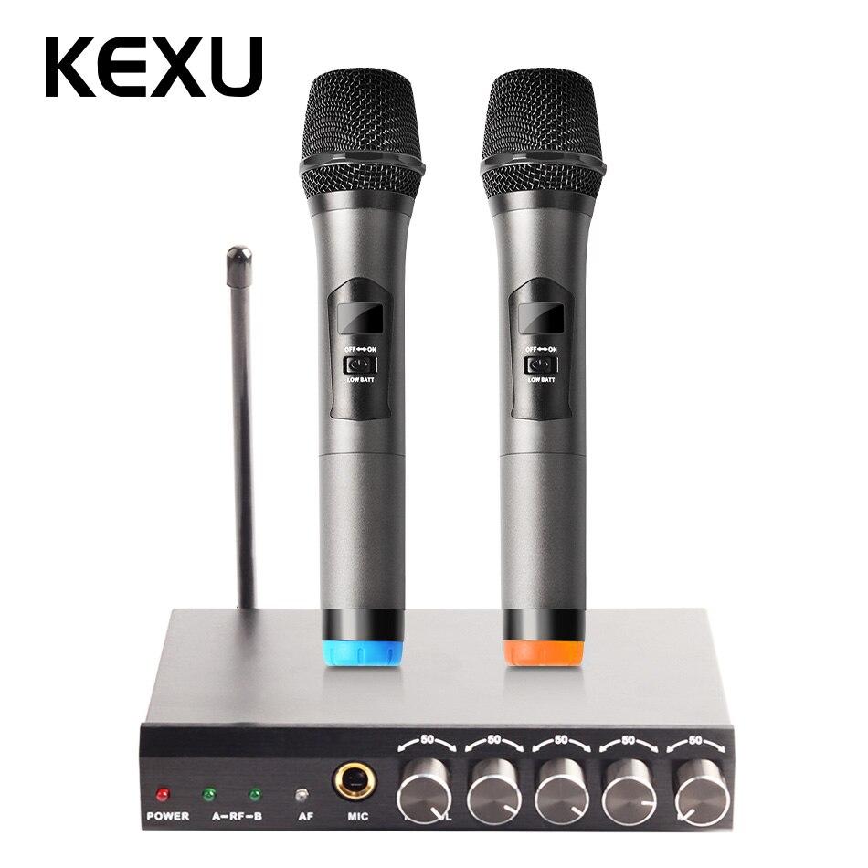 KEXU UHF A Doppio Canale Wireless Microfono Palmare, Facile Da usare Senza Fili di Karaoke Microfono SistemaKEXU UHF A Doppio Canale Wireless Microfono Palmare, Facile Da usare Senza Fili di Karaoke Microfono Sistema