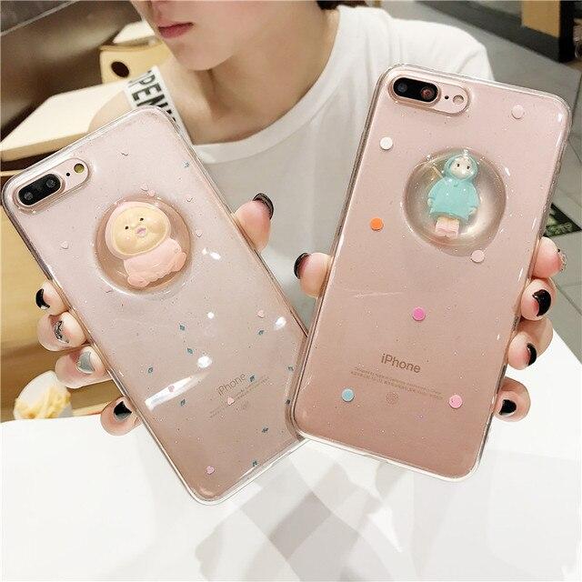 柔らかいシリコンクリア透明ケースのためのiphone 7 7プラス電話ケース3dグリッタークリスタルボールクマ女の子ケースiphone用6 6 sプラス