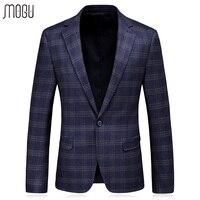 MOGU 2017 Autumn New Arrival Fashion Plaid Men Blazer Slim Fit Men Suit Casual Lattice Male