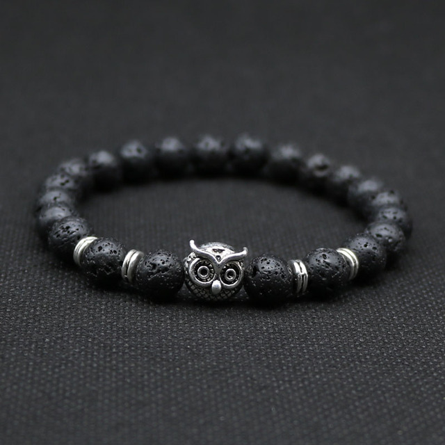 8mm Silver Plated Owl Bracelet