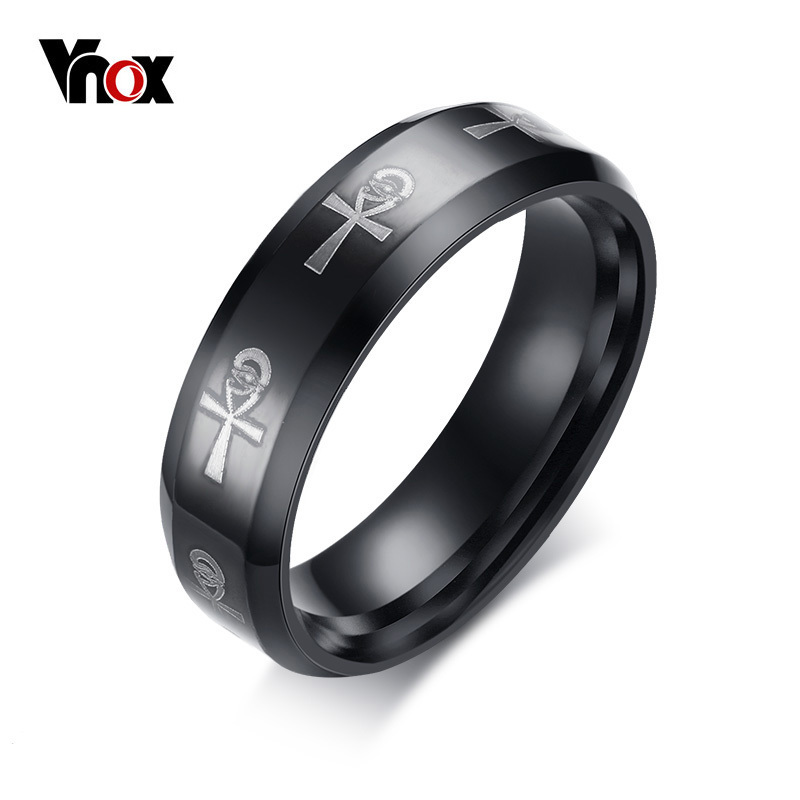Vnox Men S Ankh Egyptian Cross Ring For Stainless Steel Black Religious Wedding Bands Male Jewelry In Rings From Accessories On