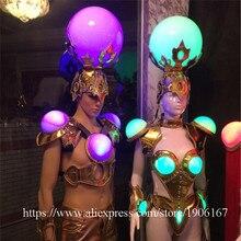 Fashion Led Leucht Sexy Abendkleid Laufsteg Kleidung Ballsaal Kostüm Bühnen Dance DJ Sänger Cosplay Kleidung