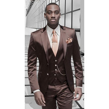 Brown Satin Men Suit Formal Italian Design Tuxedo Custom 3 Piece Blazer Masculino Wedding mens Suits (Jacket+Pants+Vest+Tie)(China)