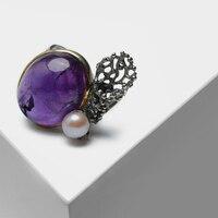 Винтаж 925 посеребренный 22 к золото изысканно пирсинг Коралл дизайн натуральный жемчуг инкрустированные полудрагоценный камень аметистово