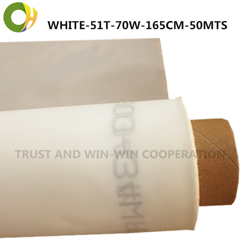higher quality 51T-70W-165cm-50mts industrial materials mono polyester printing mesh for printing machine