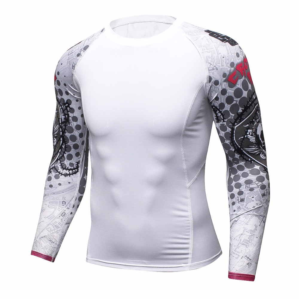 Men Compression Shirts Keep Fit Fitness Long Sleeves Base Layer Skin Tight Weight Lifting Elastic T Shirts Homme