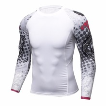 Men Compression Shirts Keep Fit Fitness Long Sleeves Base Layer Skin Tight Weight Lifting Elastic T Shirts Homme men mma boxing shorts compression pants rashguard fitness long sleeves base layer skin tight men t shirts