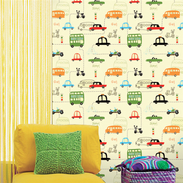 #HG601 Child room wallpaper boy girl non-woven bedroom wallpaper cartoon car children wallpaper beibehang environmental non woven boy girl warm cartoon children s room blue sky clouds balloon wallpaper