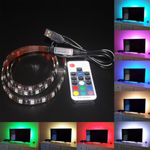 Caliente USB 5 V 1 m 2 m 3 M LED impermeable LED Luz de tira de la lámpara RGB SMD 5050 TV pared de fondo colorido ajustable color envío gratis M4(China)