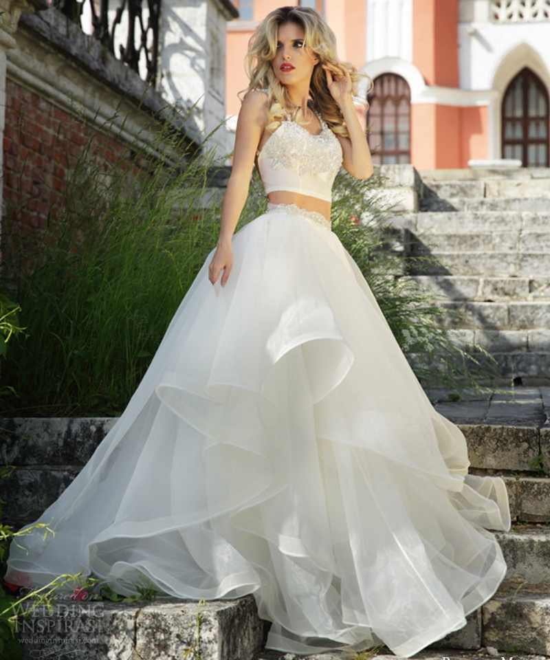 Long 2 Two Piece Prom Dresses Puffy White Formal 8th Grade