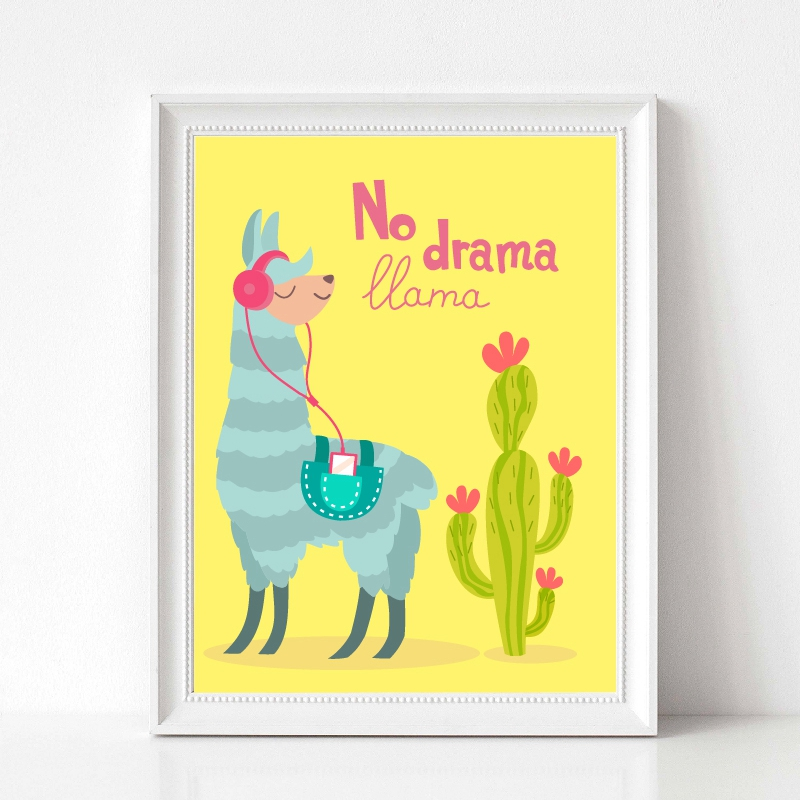 llama with ornament design and cactus print kids room decor