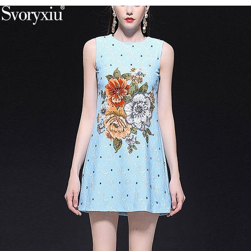 Svoryxiu piste été personnalisé sans manches Mini robe femmes haut de gamme fleur imprimé cristal perles de luxe fête bleu robe courte