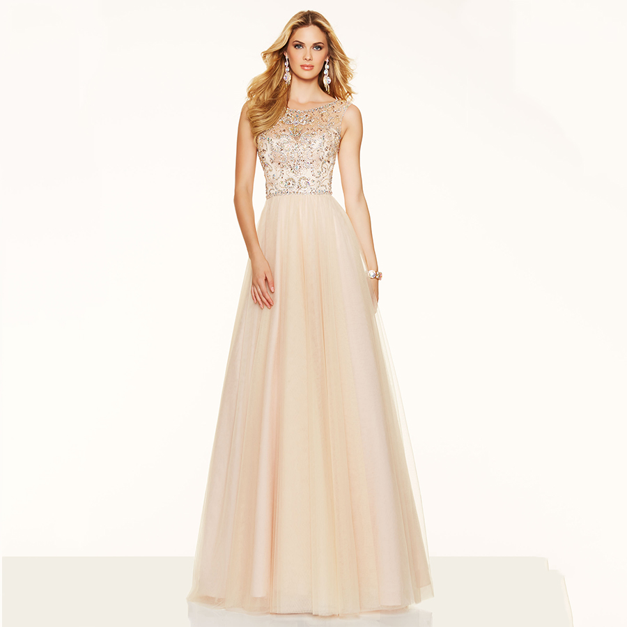 Elegant A Line Open Back Gorgeous Beaded Cap Sleeves Long Party