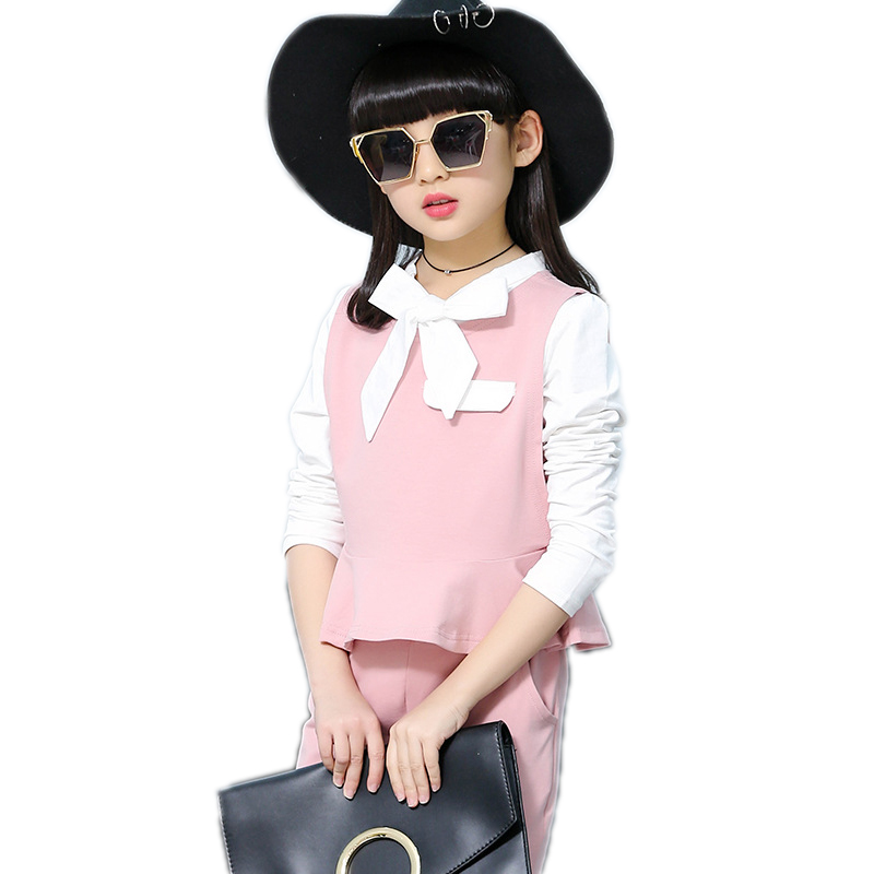 girls clothing sets 2017new fashion spring girls set top solid white t shirt+vest+pants 3pcs children clothing kids tracksuits 2017 spring autumn children girls set new brand fashion solid shirts cotton pants 2 pieces suits casual kids clothing sets hot