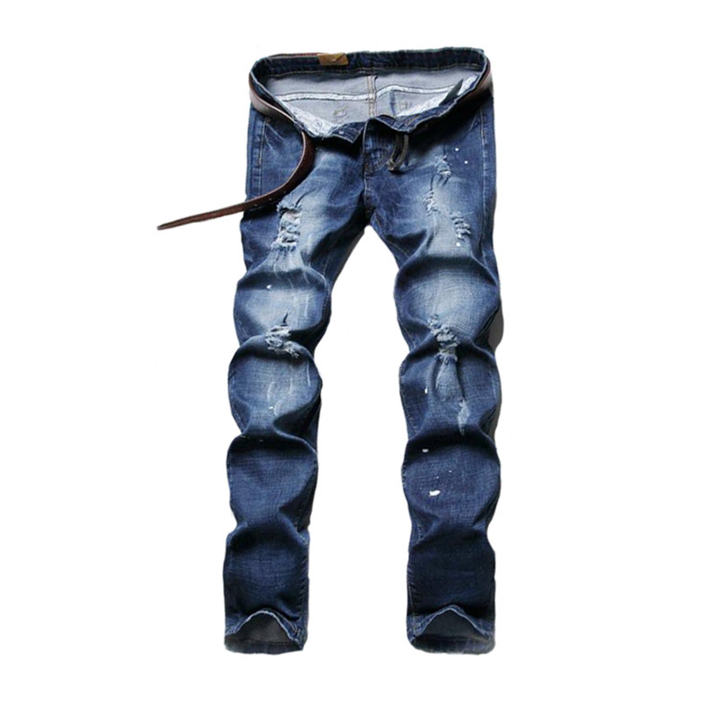 Fashion Men Ripped Jean Joggers Slim Fit Distressed Blue Jeans Pants Male Straight Strentch Torn Denim Trousers Ink Splash LQ602