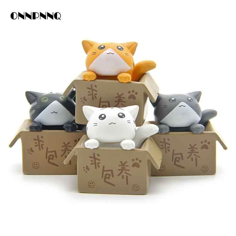 4pcs/set Diy Kawaii Cat Explosion Of Miniatures Landscape Toy Kids Gift Animal Souvenir Cute Figurine Garden Decoration