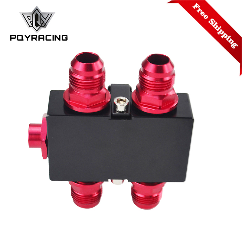 Free Shipping Oil Filter Sandwich Adaptor With In-Line Oil Thermostat AN10 fitting Oil Sandwich Adapter PQY5672BK wlring oil filter sandwich adaptor for high quality oil filter remote block with thermostat 1xan8 4xan10 orb female wlr6744