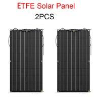 2PCS Flexible Solar Panel 100W ETFE solar modul solarzelle anschluss für 12v batterie RV auto yacht power ladegerät