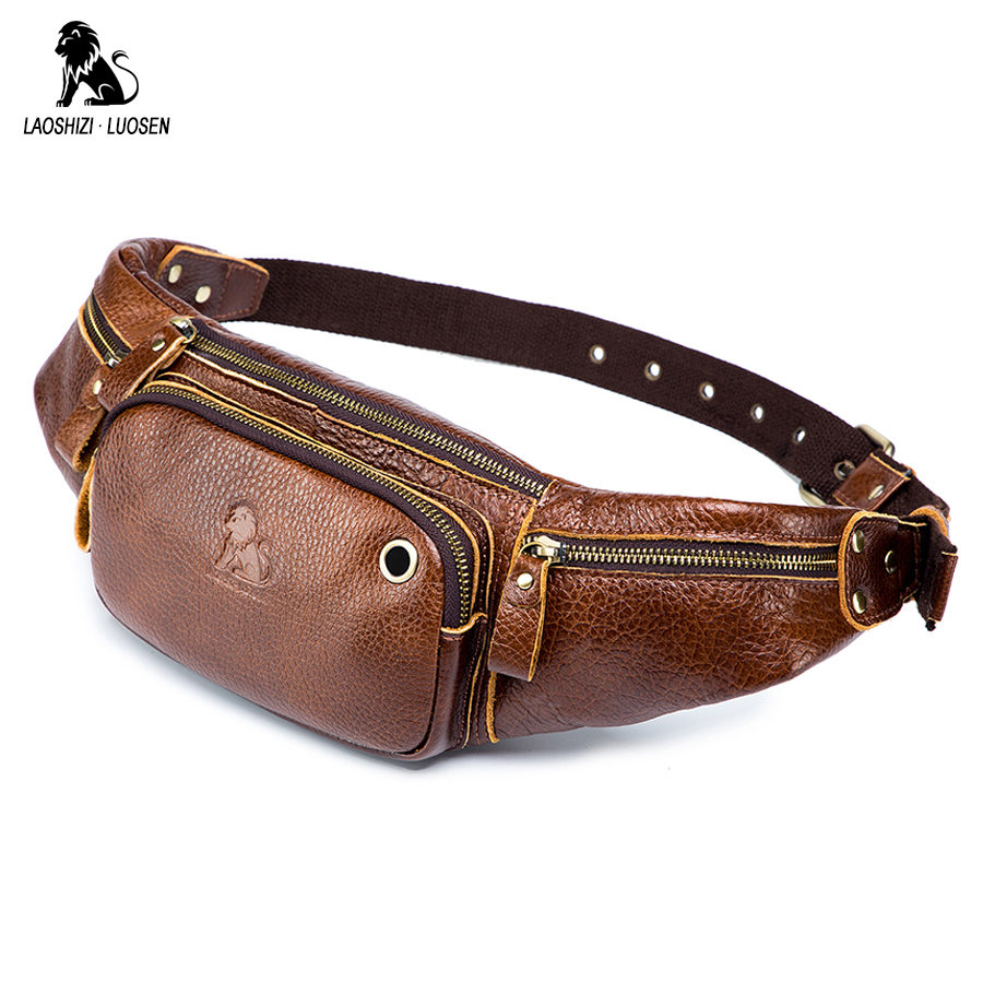 Genuine Cow Leather Men Waist Bag New Casual Small Fanny Pack Male Waist Pack For Cell Phone And Credit Cards Travel Chest Bag