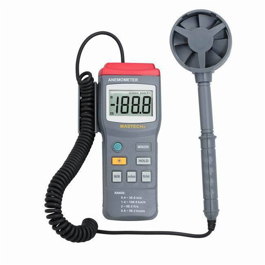 Hot MASTECH MS6250 Digital Anemometer Air Velocity Wind Speed Meter Gauge Tester w/ LCD Backlight tl 300 digital lcd air temperature anemometer air velocity wind speed meter