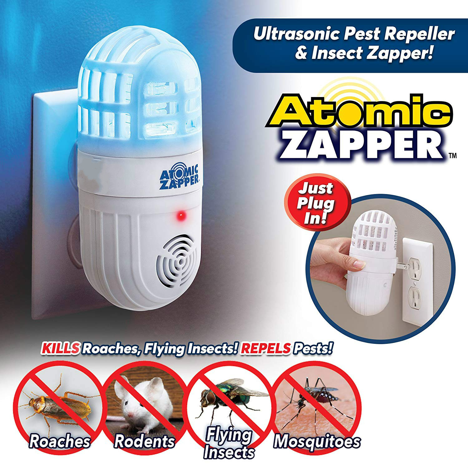 ATOMIC ZAPPER mosquito repellent new ultrasonic mosquito repellent insect repellent rat cockroach antATOMIC ZAPPER mosquito repellent new ultrasonic mosquito repellent insect repellent rat cockroach ant