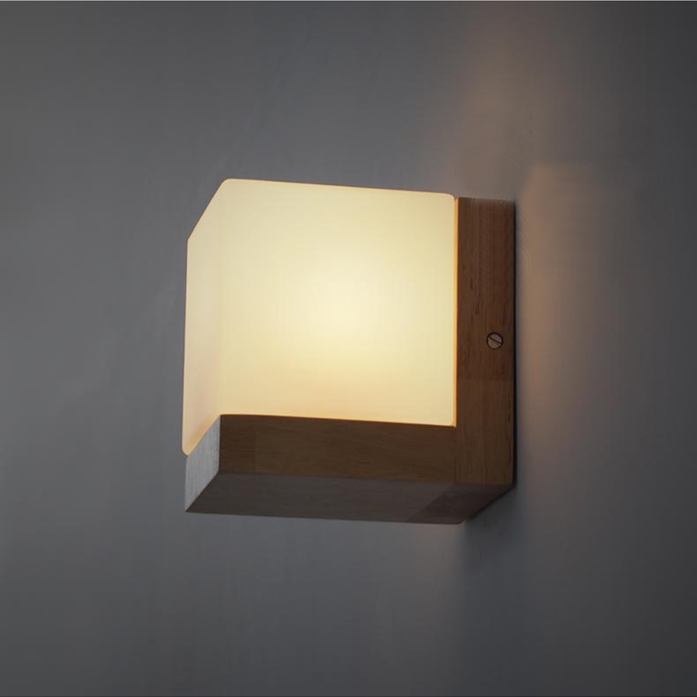 Modern Oak Wood Wall Lamps Cube Sugar Lampshade Bedroom Bedside ...