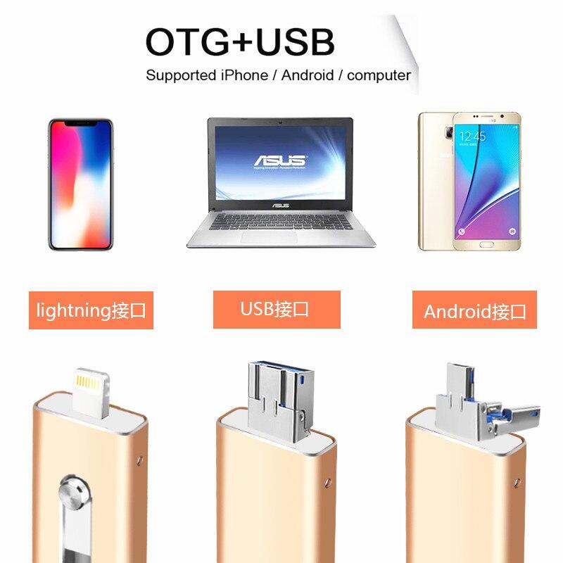 BRU OTG USB Flash Drive 8GB16G32G64G128G For iPhone 5S/6/6S/7plus/8X iPad Android Multi-Functional PenDrive Stick Custom Logo
