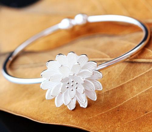 925 Sterling Silver Lotus Flower Zen Yoga Cuff Bracelet A2714 In
